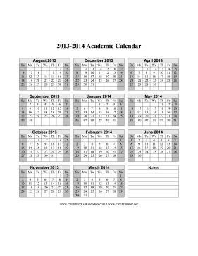 Printable Calendars 2013 2014