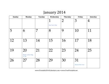 January 2014 Calendar Calendar
