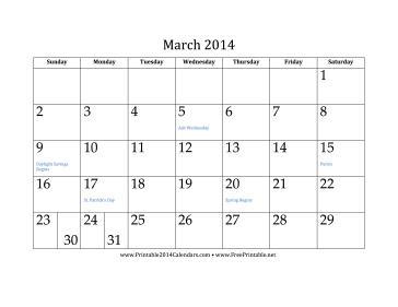 March 2014 Calendar Calendar
