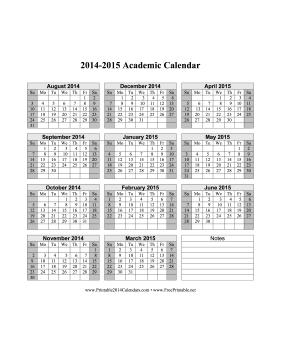 2014 2015 Academic Calendar Printable