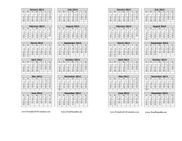 2014 Bookmark Calendar Calendar