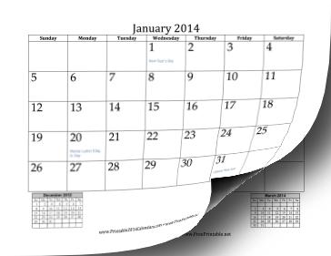2014 Mini Month Calendar Calendar