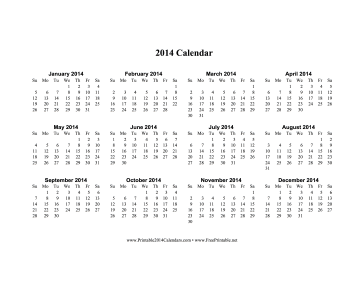 Printable 2014 Calendar on one page  horizontal