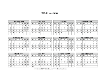 images of 2014 calendar on one page wallpaper