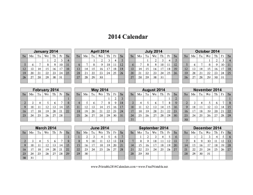 Calendar 2014 printable one page for 4 month calendar template 2014