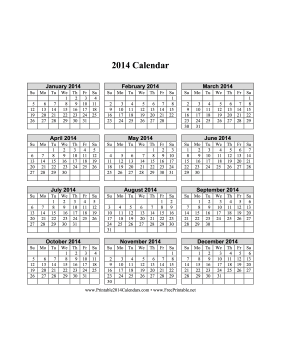 Printable 2014 Calendar on one page  vertical grid