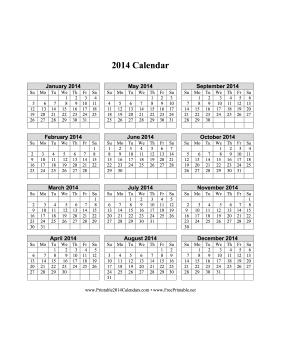 2014 calendar one page pdf