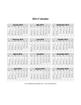 2014 Calendar on one page (vertical, week starts on Monday) Calendar