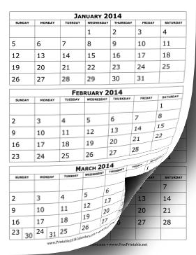 Pics Photos - 2014 3 Month Calendars