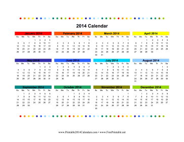 2014 Colorful Calendar Calendar