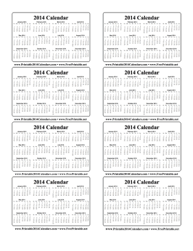 Free Printable Pocket Calendars 2014