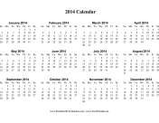 2014 Calendar on one page (horizontal) calendar