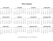 2014 Calendar (horizontal, descending) calendar