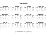 2014 Calendar (horizontal, descending, holidays in red) calendar