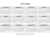 2014 Calendar on one page (horizontal grid) calendar