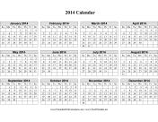 2014 Calendar on one page (horizontal grid) calendar