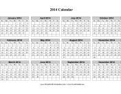 2014 Calendar (horizontal grid, descending) calendar