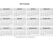 2014 Calendar on one page (horizontal, week starts on Monday) calendar