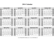 2014 Calendar on one page (horizontal, shaded weekends) calendar