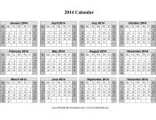 2014 Calendar on one page (horizontal, shaded weekends) calendar