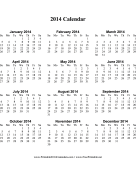 2014 Calendar on one page (vertical) calendar