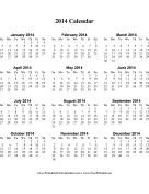 2014 Calendar on one page (vertical) calendar