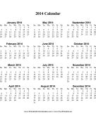 2014 Calendar (vertical, descending) calendar