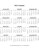 2014 Calendar (vertical, descending, holidays in red) calendar
