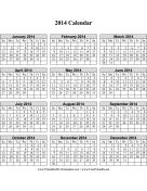 2014 Calendar on one page (vertical grid) calendar