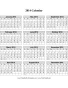 2014 Calendar (vertical grid) calendar