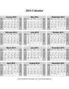 2014 Calendar on one page (vertical, shaded weekends) calendar