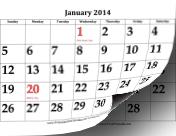2014 Calendar with Large Dates calendar
