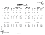 2014 One Page Calendar With Flowers calendar